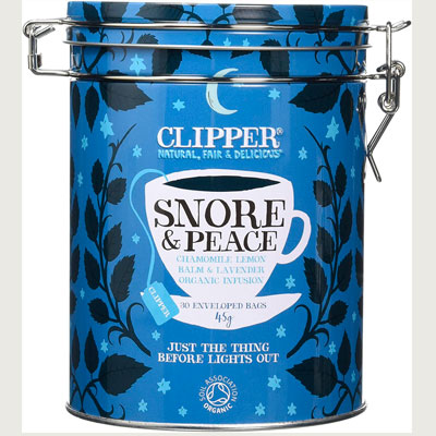 Clipper Snore and peace tea caddy
